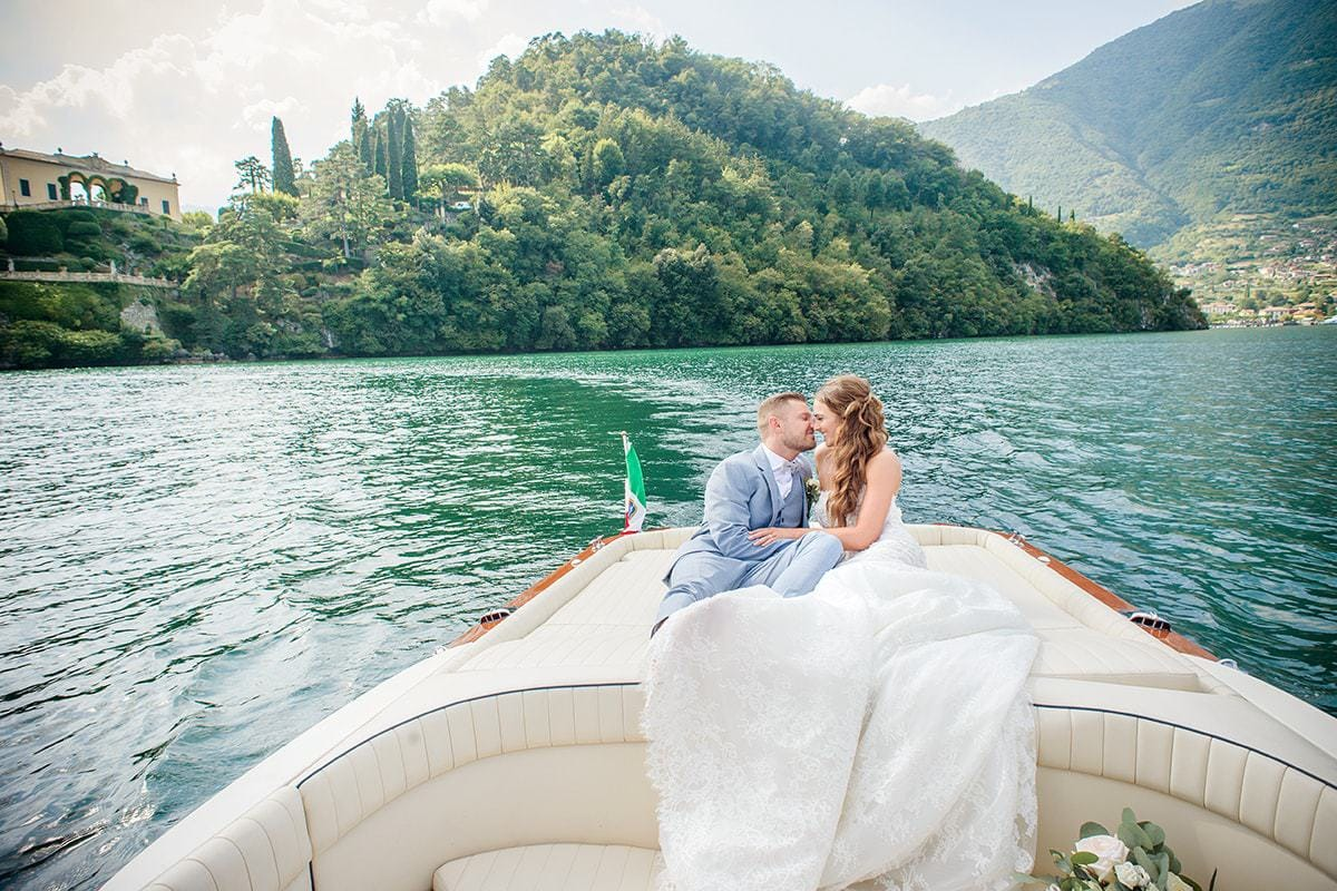 Lake Como Italy Bride and Groom Breathtaking Lanscapes Luxurious Boats Destination Wedding Photographer Catherine Bradley