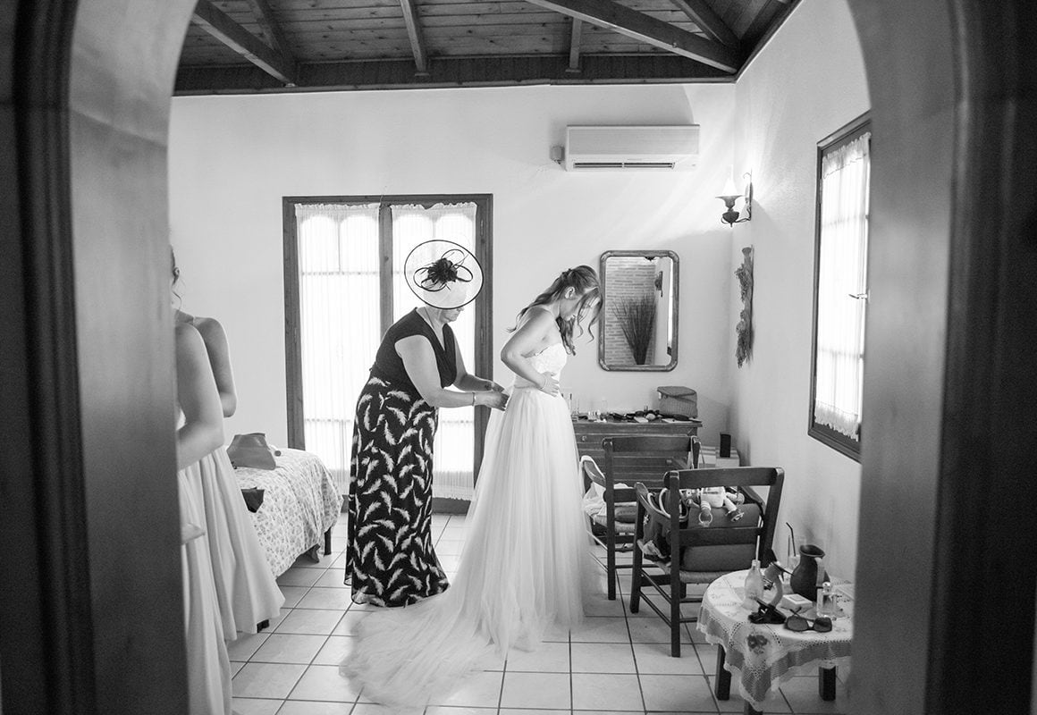 Pre Wedding Photographs Bride and Mother of the Bride Garden Village Zante Greece Catherine Bradley Wedding Photography