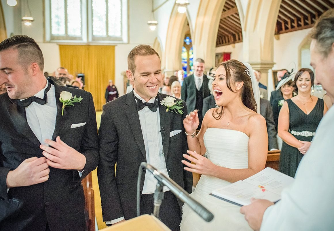 Ceremony Laughter Love Best Friends Black and White Wedding Church Ceremony Catherine Bradley Photography